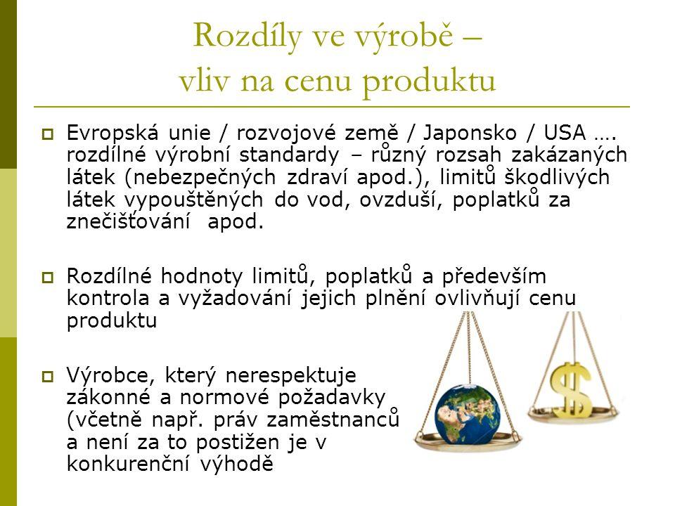 Rozdíly ve výrobě – vliv na cenu produktu  Evropská unie / rozvojové země / Japonsko / USA …. rozdílné výrobní standardy – různý rozsah zakázaných lá