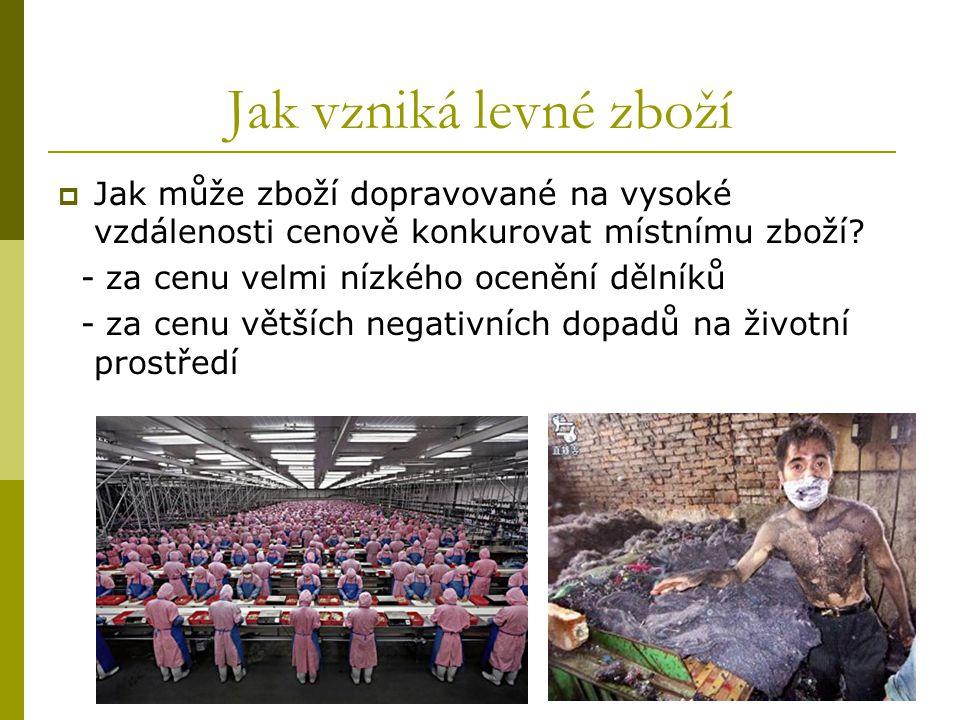Jak vzniká levné zboží  Jak může zboží dopravované na vysoké vzdálenosti cenově konkurovat místnímu zboží.