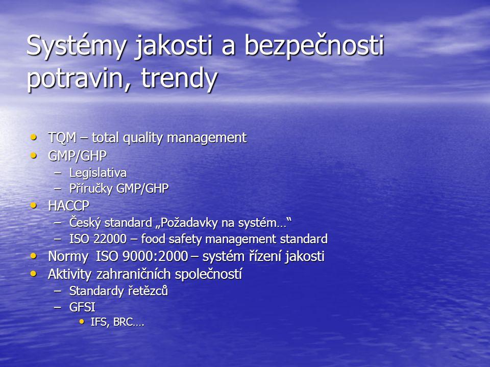 """Systémy jakosti a bezpečnosti potravin, trendy • TQM – total quality management • GMP/GHP –Legislativa –Příručky GMP/GHP • HACCP –Český standard """"Poža"""
