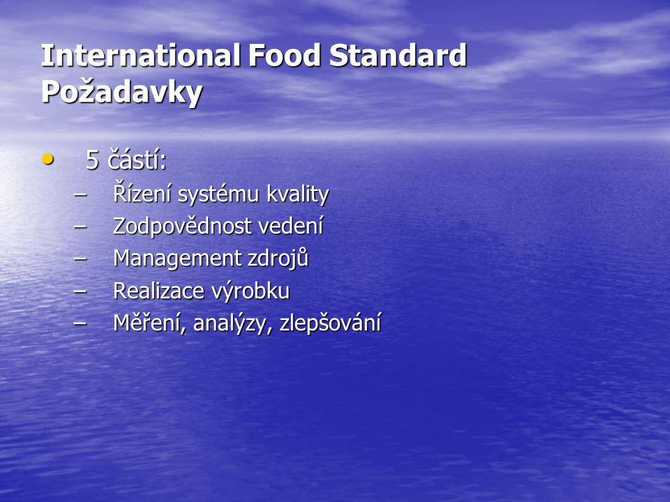 International Food Standard Požadavky • 5 částí: –Řízení systému kvality –Zodpovědnost vedení –Management zdrojů –Realizace výrobku –Měření, analýzy,