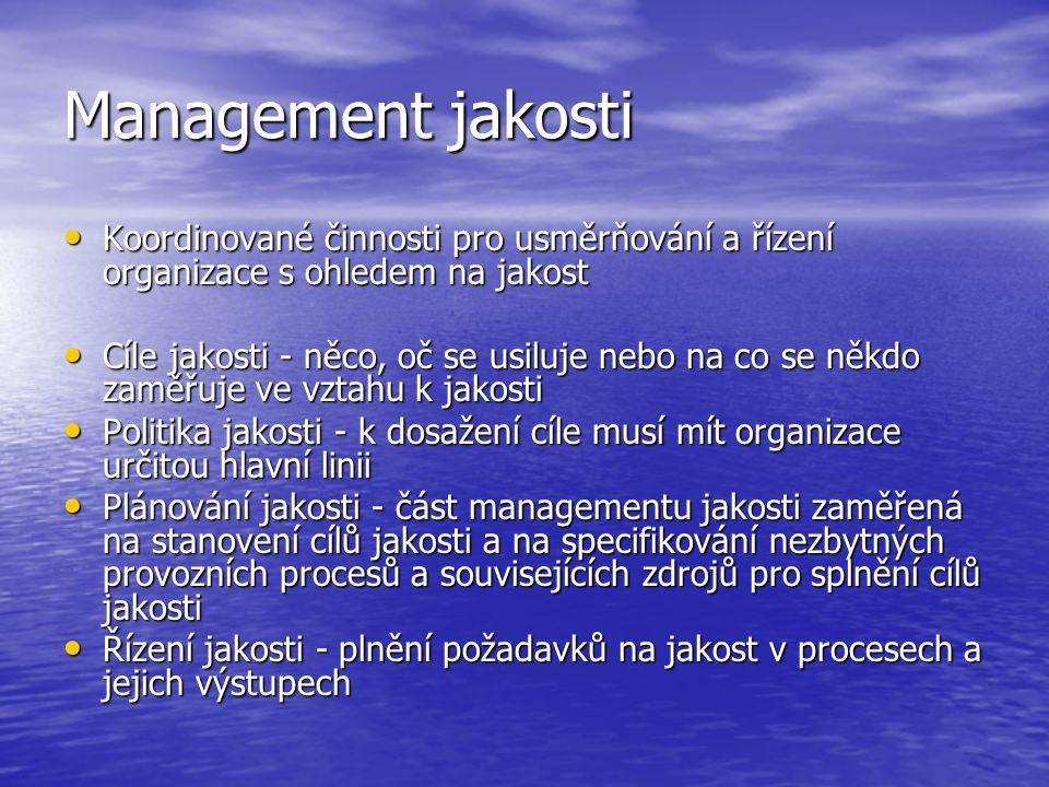 Management jakosti • Koordinované činnosti pro usměrňování a řízení organizace s ohledem na jakost • Cíle jakosti - něco, oč se usiluje nebo na co se