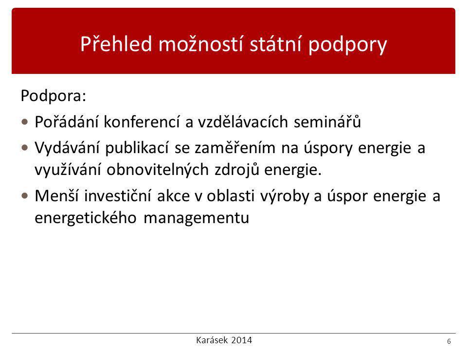 Karásek 2014 Podpora:  Pořádání konferencí a vzdělávacích seminářů  Vydávání publikací se zaměřením na úspory energie a využívání obnovitelných zdrojů energie.