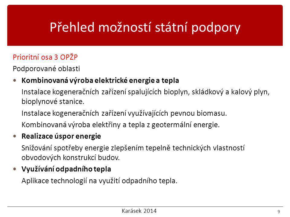 Karásek 2014 Prioritní osa 3 OPŽP Podporované oblasti  Kombinovaná výroba elektrické energie a tepla Instalace kogeneračních zařízení spalujících bioplyn, skládkový a kalový plyn, bioplynové stanice.