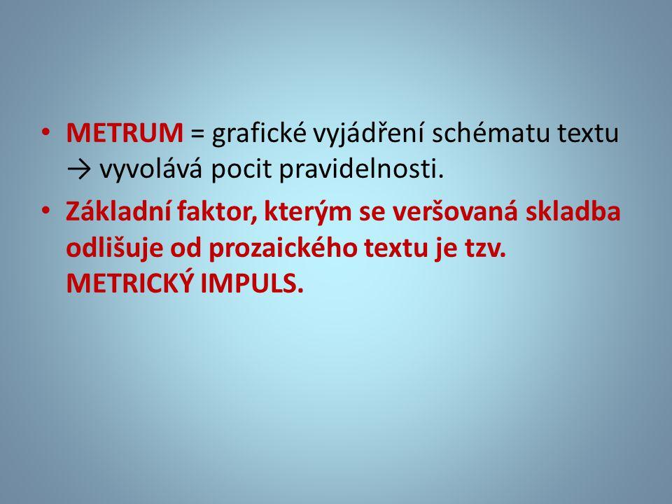 • METRUM = grafické vyjádření schématu textu → vyvolává pocit pravidelnosti. • Základní faktor, kterým se veršovaná skladba odlišuje od prozaického te