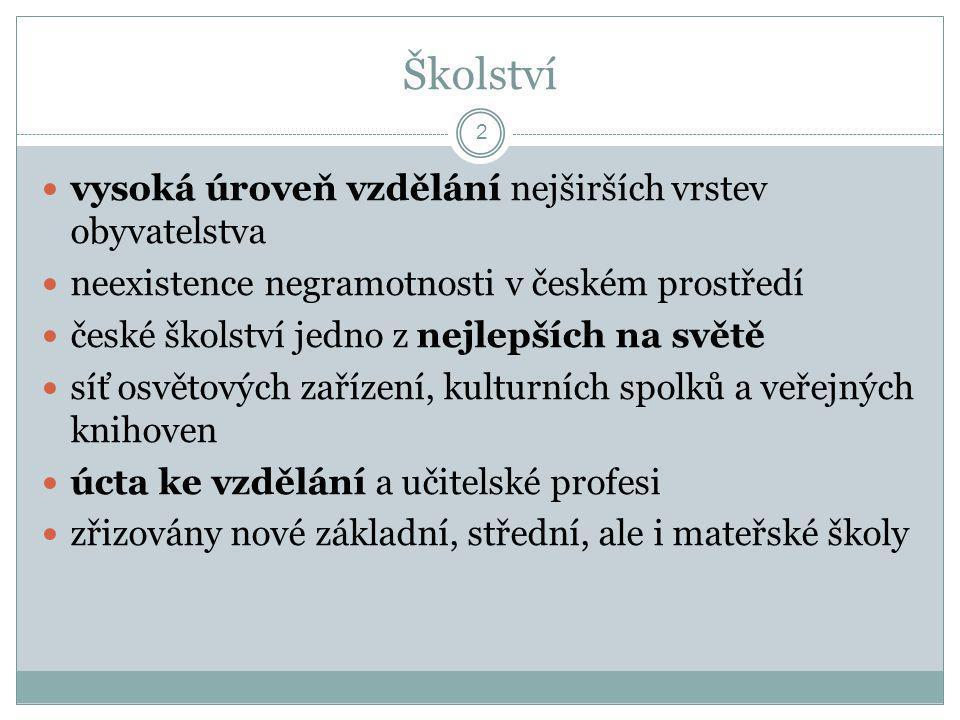 Školství  vysoká úroveň vzdělání nejširších vrstev obyvatelstva  neexistence negramotnosti v českém prostředí  české školství jedno z nejlepších na