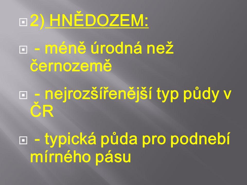  2) HNĚDOZEM:  - méně úrodná než černozemě  - nejrozšířenější typ půdy v ČR  - typická půda pro podnebí mírného pásu