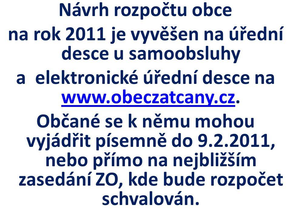 Návrh rozpočtu obce na rok 2011 je vyvěšen na úřední desce u samoobsluhy a elektronické úřední desce na www.obeczatcany.cz.