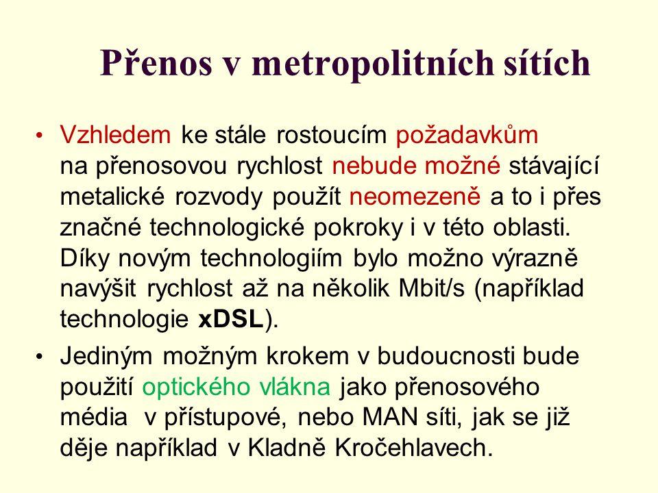 Přenos v metropolitních sítích • Pro tyto účely byly již vyvinuty nové technologie (APON - pasivní sítě založené na technologii ATM, EPON - pasivní optické sítě Ethernet, AON - aktivní optické sítě) a typy rozvodů (FTTB, FTTC, FTTH apod.), které používají optická vlákna jako základní přenosové médium.
