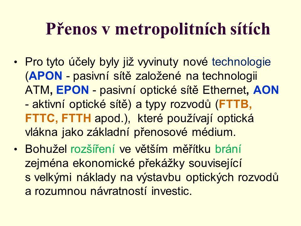 Přenos v metropolitních sítích • Určitou výjimkou z hlediska používaných přenosových médií v přístupových sítích jsou sítě kabelové televize.