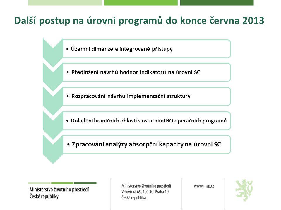 Další postup na úrovni programů do konce června 2013 • Územní dimenze a integrované přístupy•Předložení návrhů hodnot indikátorů na úrovni SC•Rozpraco