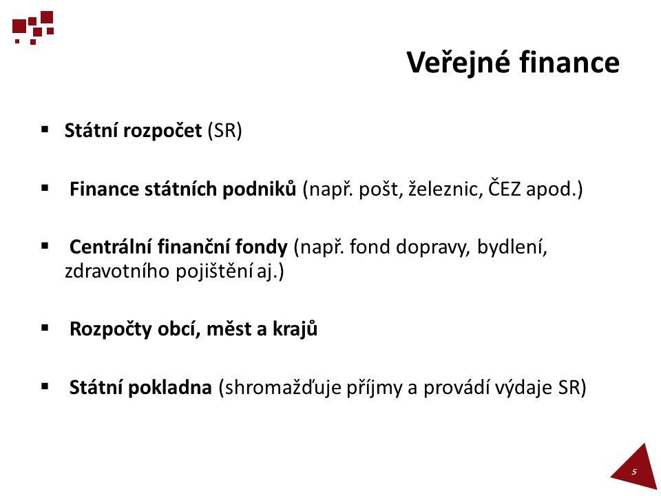 Veřejné finance  Státní rozpočet (SR)  Finance státních podniků (např.
