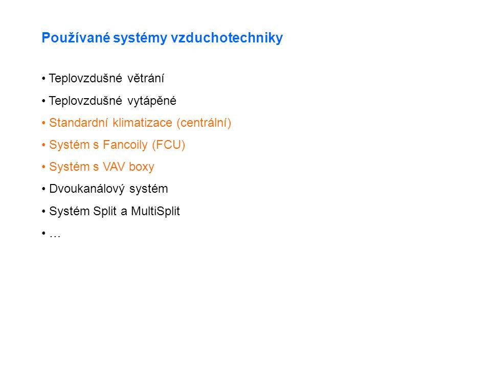 Používané systémy vzduchotechniky • Teplovzdušné větrání • Teplovzdušné vytápěné • Standardní klimatizace (centrální) • Systém s Fancoily (FCU) • Systém s VAV boxy • Dvoukanálový systém • Systém Split a MultiSplit • …