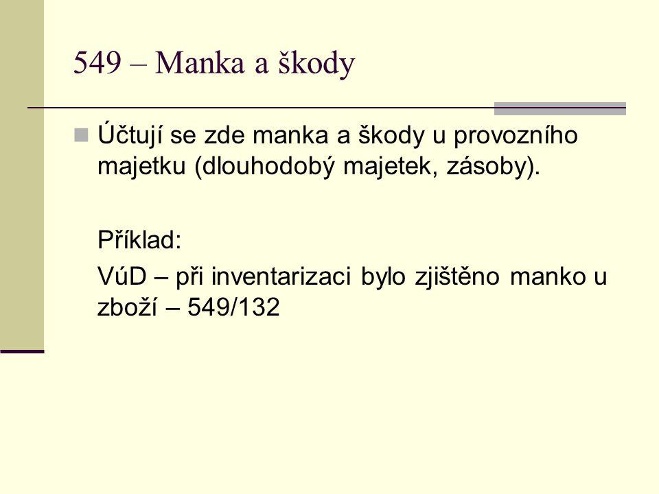 549 – Manka a škody  Účtují se zde manka a škody u provozního majetku (dlouhodobý majetek, zásoby).