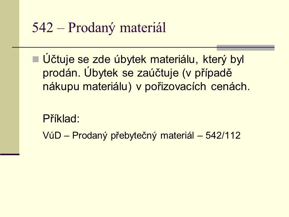 542 – Prodaný materiál  Účtuje se zde úbytek materiálu, který byl prodán.