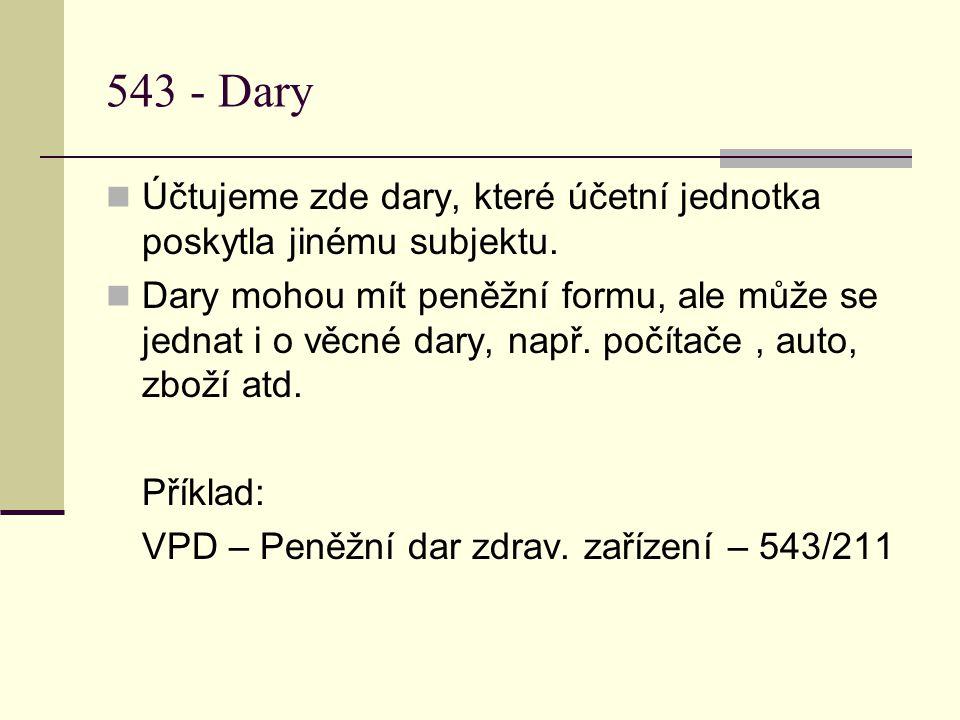 543 - Dary  Účtujeme zde dary, které účetní jednotka poskytla jinému subjektu.