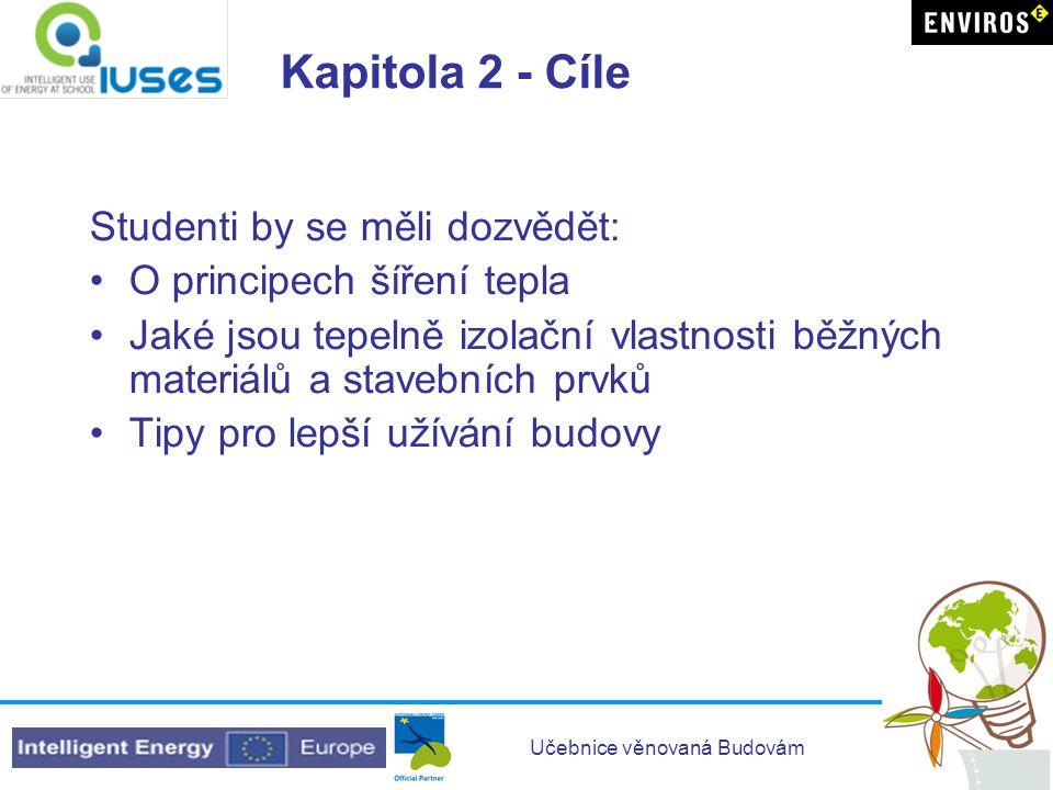 Učebnice věnovaná Budovám Kapitola 2 - Cíle Studenti by se měli dozvědět: •O principech šíření tepla •Jaké jsou tepelně izolační vlastnosti běžných ma
