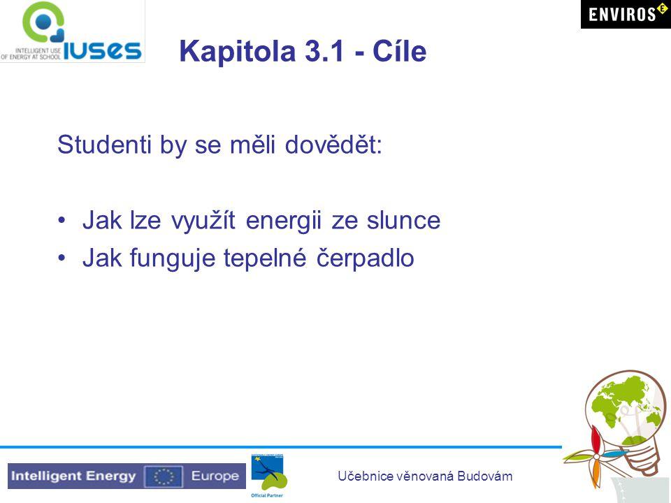 Učebnice věnovaná Budovám Kapitola 3.1 - Cíle Studenti by se měli dovědět: •Jak lze využít energii ze slunce •Jak funguje tepelné čerpadlo