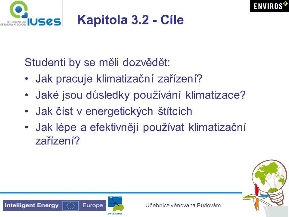 Učebnice věnovaná Budovám Kapitola 3.2 - Cíle Studenti by se měli dozvědět: •Jak pracuje klimatizační zařízení? •Jaké jsou důsledky používání klimatiz