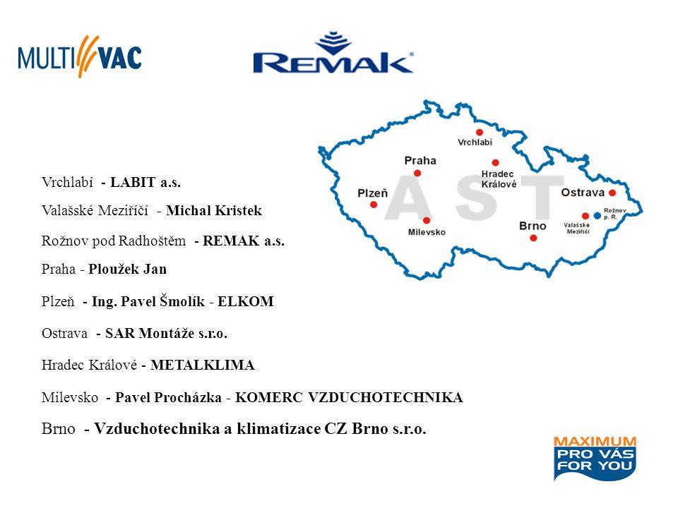 Brno - Vzduchotechnika a klimatizace CZ Brno s.r.o. Milevsko - Pavel Procházka - KOMERC VZDUCHOTECHNIKA Hradec Králové - METALKLIMA Ostrava - SAR Mont