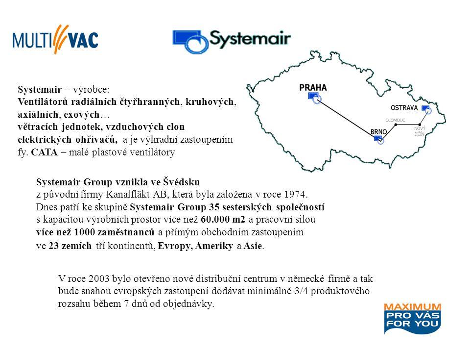 Systemair Group vznikla ve Švédsku z původní firmy Kanalfläkt AB, která byla založena v roce 1974. Dnes patří ke skupině Systemair Group 35 sesterskýc