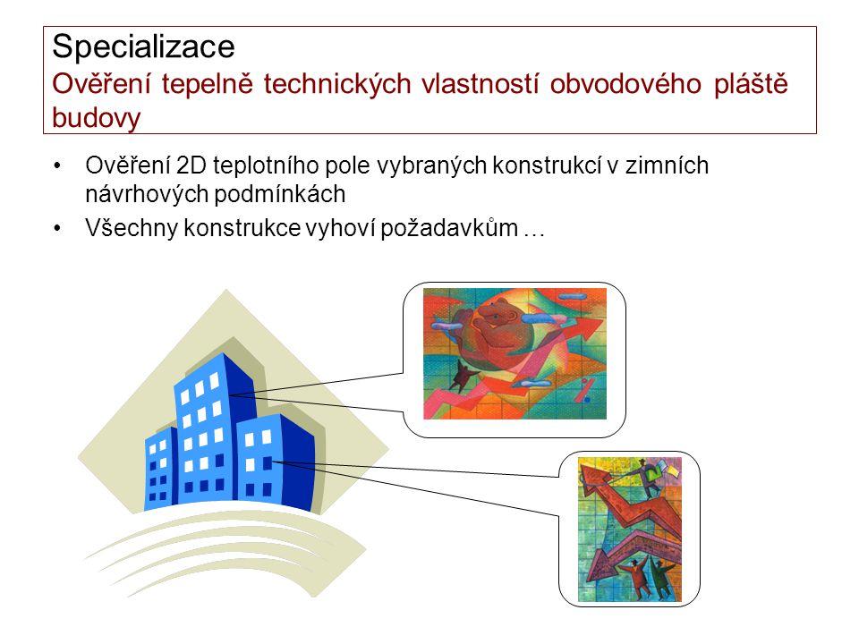 Specializace Ověření tepelně technických vlastností obvodového pláště budovy •Ověření 2D teplotního pole vybraných konstrukcí v zimních návrhových pod