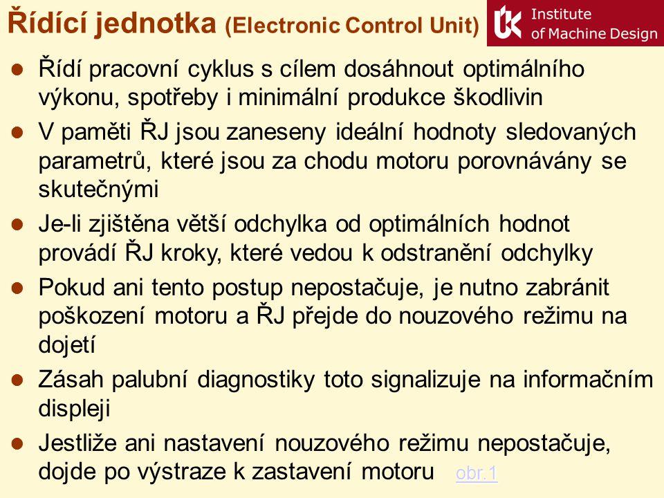 Řídící jednotka (Electronic Control Unit)  Řídí pracovní cyklus s cílem dosáhnout optimálního výkonu, spotřeby i minimální produkce škodlivin  V pam