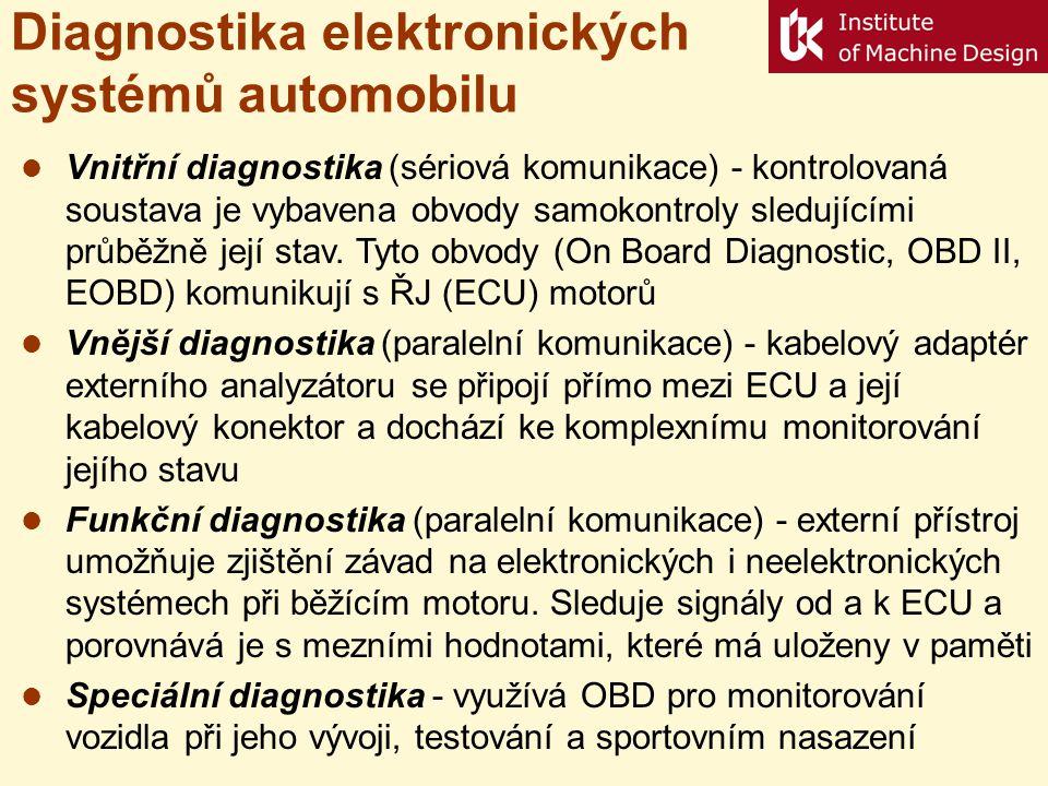 Diagnostika elektronických systémů automobilu  Vnitřní diagnostika (sériová komunikace) - kontrolovaná soustava je vybavena obvody samokontroly sledu