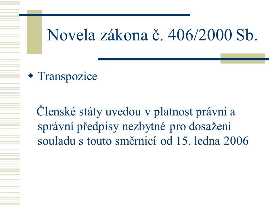 Novela zákona č. 406/2000 Sb.  Transpozice Členské státy uvedou v platnost právní a správní předpisy nezbytné pro dosažení souladu s touto směrnicí o