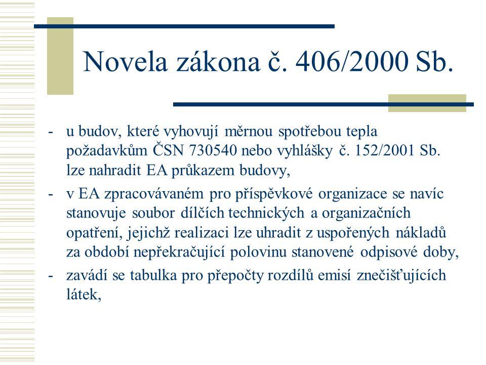 Novela zákona č. 406/2000 Sb. -u budov, které vyhovují měrnou spotřebou tepla požadavkům ČSN 730540 nebo vyhlášky č. 152/2001 Sb. lze nahradit EA průk