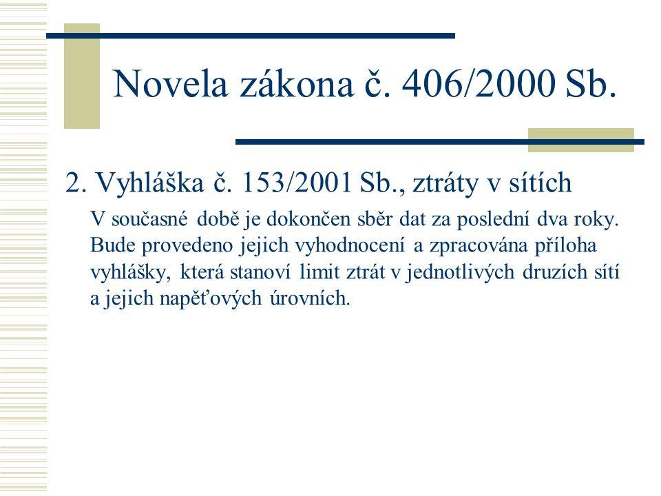 Novela zákona č. 406/2000 Sb. 2. Vyhláška č. 153/2001 Sb., ztráty v sítích V současné době je dokončen sběr dat za poslední dva roky. Bude provedeno j