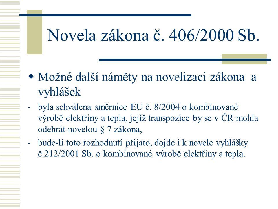 Novela zákona č. 406/2000 Sb.  Možné další náměty na novelizaci zákona a vyhlášek -byla schválena směrnice EU č. 8/2004 o kombinované výrobě elektřin