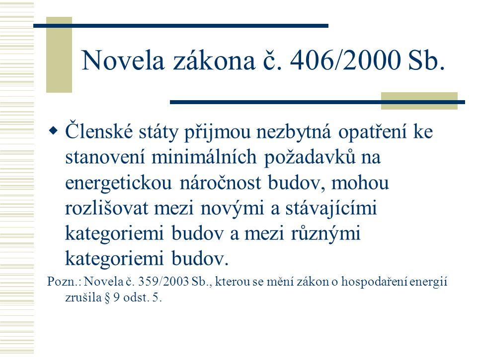 Novela zákona č. 406/2000 Sb.  Členské státy přijmou nezbytná opatření ke stanovení minimálních požadavků na energetickou náročnost budov, mohou rozl