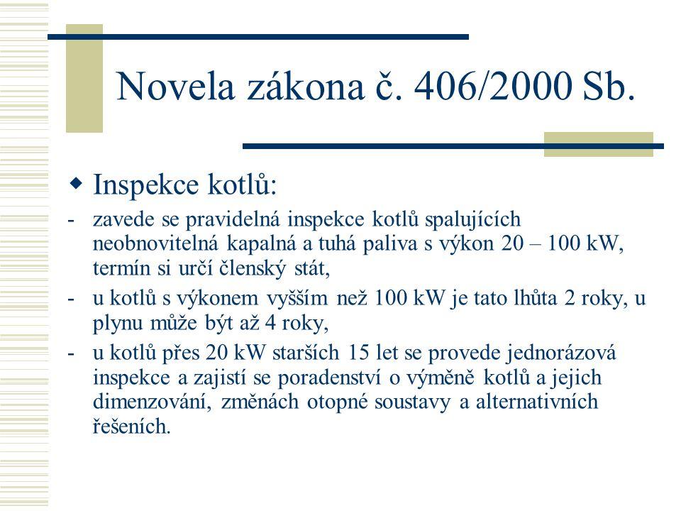 Novela zákona č. 406/2000 Sb.  Inspekce kotlů: -zavede se pravidelná inspekce kotlů spalujících neobnovitelná kapalná a tuhá paliva s výkon 20 – 100