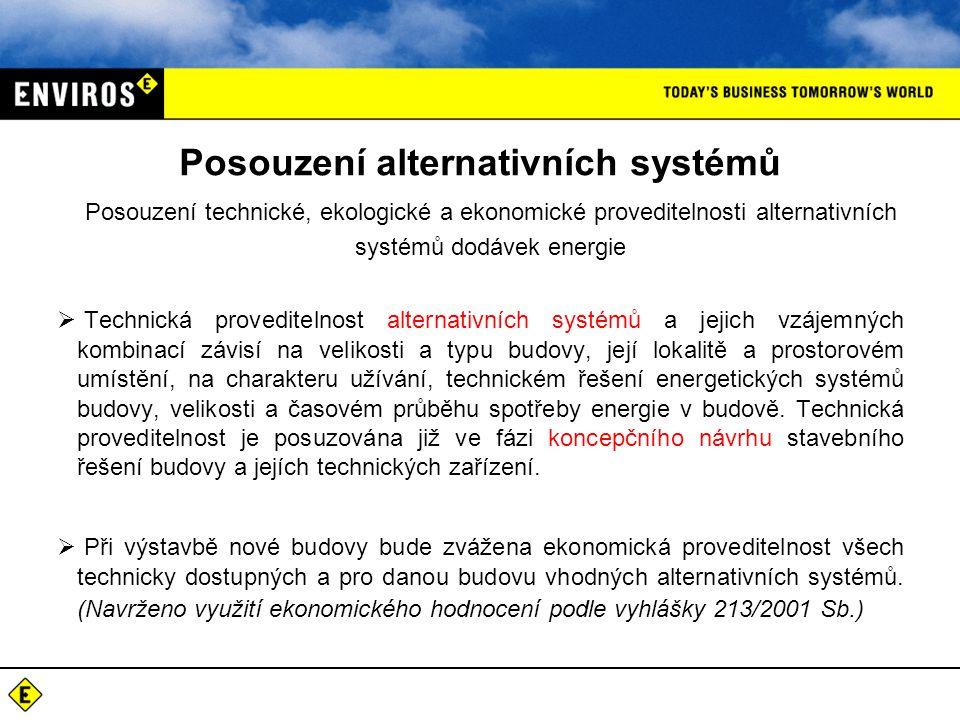 Posouzení alternativních systémů Posouzení technické, ekologické a ekonomické proveditelnosti alternativních systémů dodávek energie  Technická prove