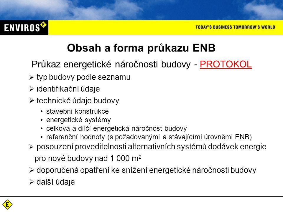 Obsah a forma průkazu ENB Průkaz energetické náročnosti budovy - PROTOKOL  typ budovy podle seznamu  identifikační údaje  technické údaje budovy •s