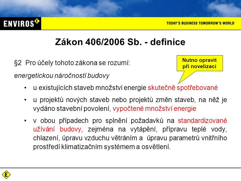 Zákon 406/2006 Sb. - definice §2 Pro účely tohoto zákona se rozumí: energetickou náročností budovy •u existujících staveb množství energie skutečně sp