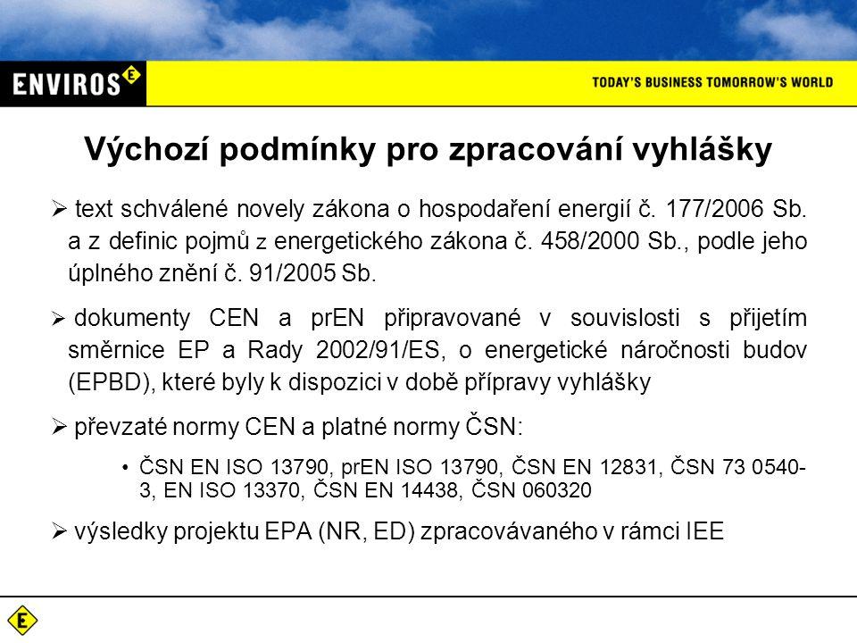 Výchozí podmínky pro zpracování vyhlášky  text schválené novely zákona o hospodaření energií č. 177/2006 Sb. a z definic pojmů z energetického zákona