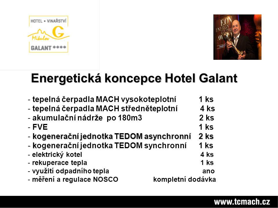 Energetická koncepce Hotel Galant Energetická koncepce Hotel Galant - tepelná čerpadla MACH vysokoteplotní 1 ks - tepelná čerpadla MACH středněteplotn