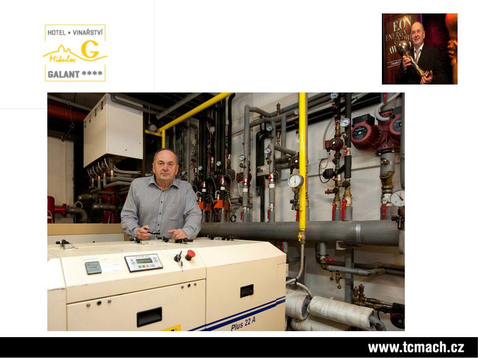 Energetické bilance Hotel Galant Energetické bilance Hotel Galant - tepelná čerpadla MACH chladící výkon 120 kW - tepelná čerpadla MACH tepelný výkon 170 kW - FVE 150 kW - kogenerační jednotky el.