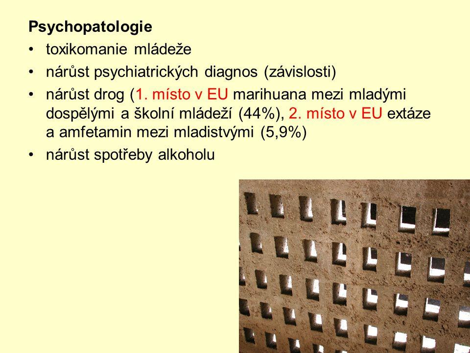 Psychopatologie •toxikomanie mládeže •nárůst psychiatrických diagnos (závislosti) •nárůst drog (1.