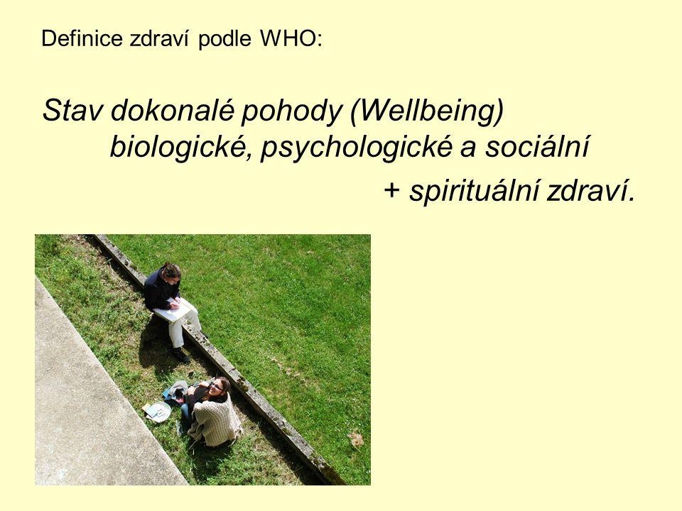 Definice zdraví podle WHO: Stav dokonalé pohody (Wellbeing) biologické, psychologické a sociální + spirituální zdraví.