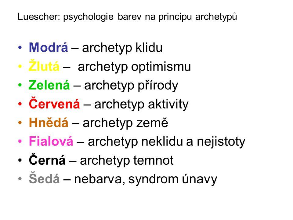Luescher: psychologie barev na principu archetypů •Modrá – archetyp klidu •Žlutá – archetyp optimismu •Zelená – archetyp přírody •Červená – archetyp aktivity •Hnědá – archetyp země •Fialová – archetyp neklidu a nejistoty •Černá – archetyp temnot •Šedá – nebarva, syndrom únavy