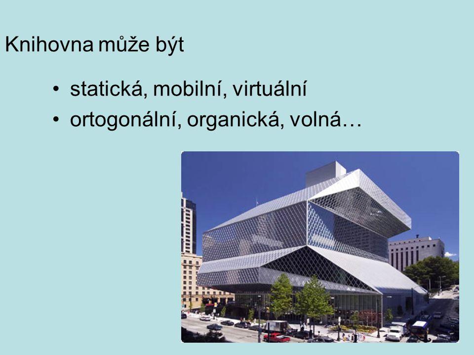 Knihovna může být •statická, mobilní, virtuální •ortogonální, organická, volná…