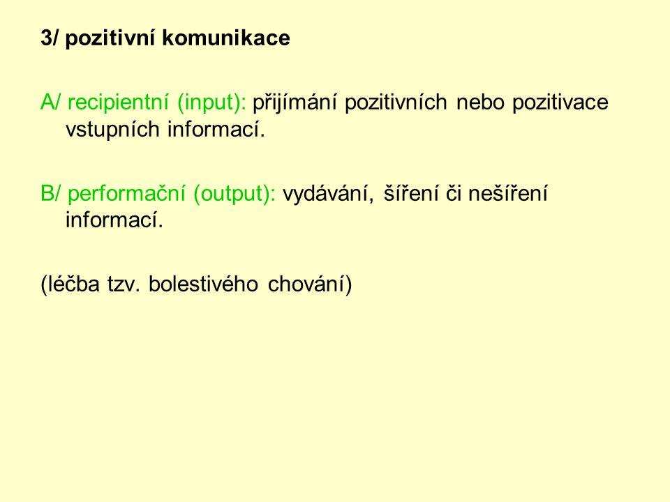 3/ pozitivní komunikace A/ recipientní (input): přijímání pozitivních nebo pozitivace vstupních informací.