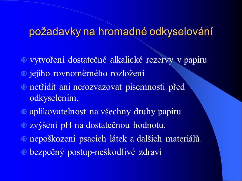 odkyselování - deacidifikace  Rozklad papíru v důsledku kyselé hydrolýzy lze zastavit neutralizací volných kyselin přítomných v papíru – odkyselení 