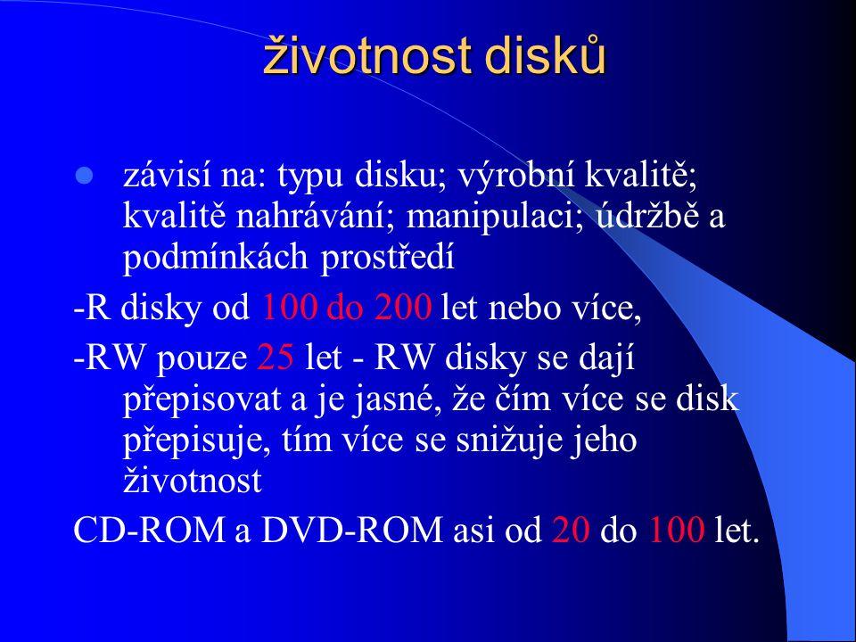 struktura CD/DVD disků  Polykarbonátová (plastová) podkladová vrstva – je pouze 1 u CD, nebo 2 u DVD  Datová vrstva- lisovaná - DVD/CD-ROM z organic