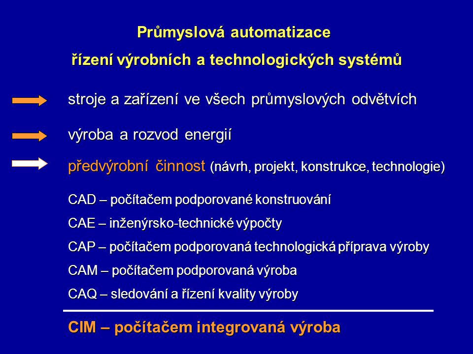 Průmyslová automatizace řízení výrobních a technologických systémů stroje a zařízení ve všech průmyslových odvětvích výroba a rozvod energií předvýrobní činnost (návrh, projekt, konstrukce, technologie) CAD – počítačem podporované konstruování CAE – inženýrsko-technické výpočty CAP – počítačem podporovaná technologická příprava výroby CAM – počítačem podporovaná výroba CAQ – sledování a řízení kvality výroby CIM – počítačem integrovaná výroba