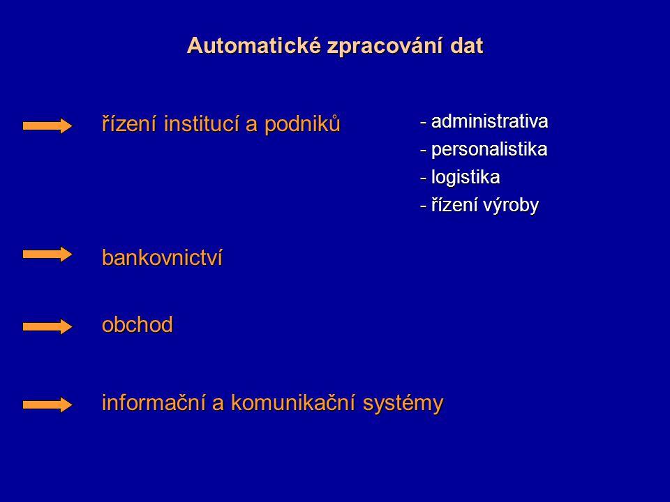Automatizační technika Teorie automatického řízení Prostředky automatizační techniky - vztahu k informaci - získávání informace - získávání informace - přenos informace - přenos informace - zpracování informace - zpracování informace - uchování informace - uchování informace - využití informace - využití informace můžeme rozdělit podle: - energie signálu - elektrická - elektrická - elektromagnetická - elektromagnetická - pneumatická - pneumatická - hydraulická - hydraulická - optická - optická - druhu signálu - analogový (spojitý) - analogový (spojitý) - diskrétní (nespojitý) - diskrétní (nespojitý) - konstrukce - kompaktní - kompaktní - modulární - modulární