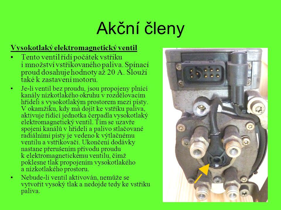 Akční členy Vysokotlaký elektromagnetický ventil •Tento ventil řídí počátek vstřiku i množství vstřikovaného paliva. Spínací proud dosahuje hodnoty až
