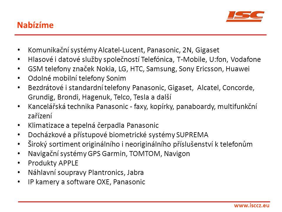 Nabízíme • Komunikační systémy Alcatel-Lucent, Panasonic, 2N, Gigaset • Hlasové i datové služby společností Telefónica, T-Mobile, U:fon, Vodafone • GS